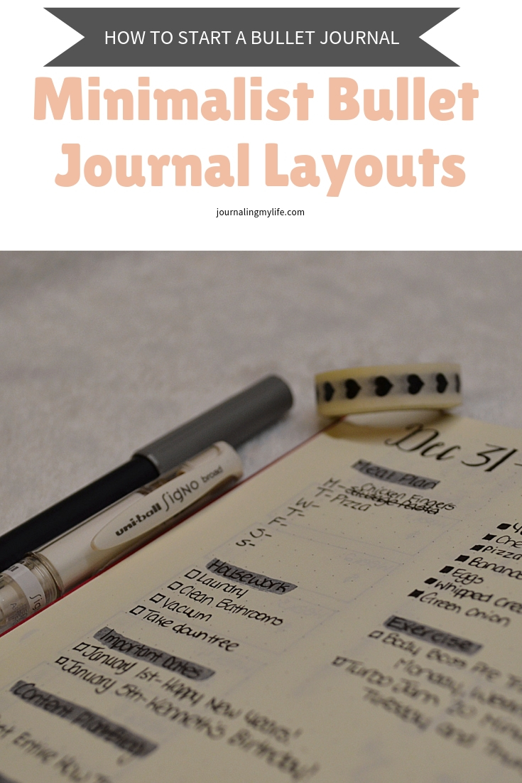Create minimalist layouts in this series post from How To Start A Bullet Journal. Learn how to create a simple monthly two page layout, and a weekly daily layout combined into one!