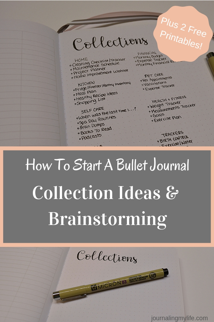 Find great collection ideas for your first bullet journal! Includes two free printables for brainstorming what collections to include in your Bullet Journal!
