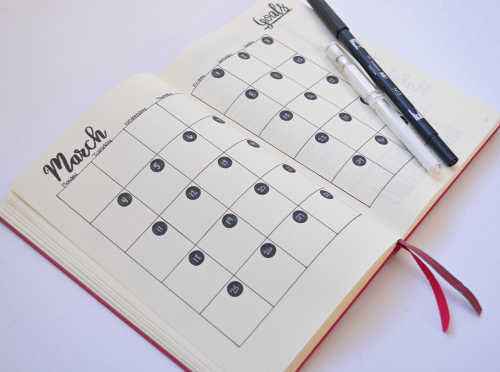 Plan out your month in your Bullet Journal with a simple and traditional calendar layout.