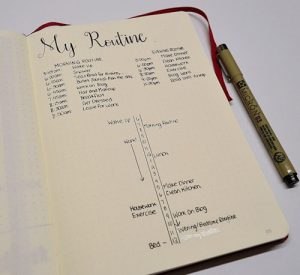 Create a minimalist daily routine layout for your Bullet Journal to increase your productivity, develop long-lasting healthy habits, and see improvements in your overall mood and well-being.