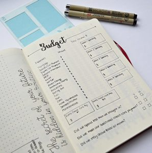 Get your finances in order with a simple budget layout for your DIY Planner or Bullet Journal.