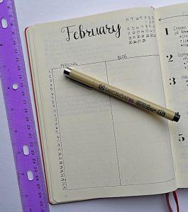Minimalist February monthly layout.