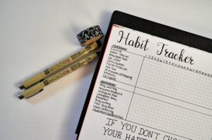 Create a routine of daily habits to help you achieve your goals on this Habit Tracker layout!