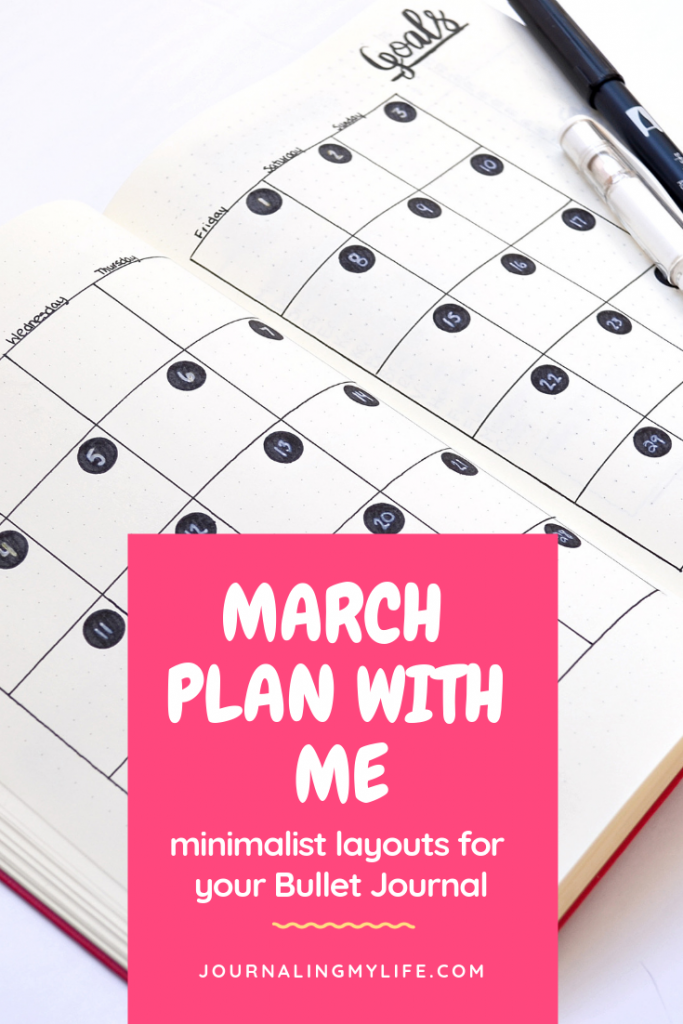 In this March Bullet Journal plan with me post, find inspiration for your minimalist Bujo layouts. Includes a calendar style layout, a tracker, expense log and more!