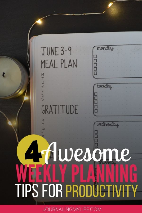 Discover four bullet journal weekly planning tips that will help you get your week started on the right foot.
