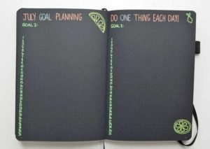Goal Planning in your Bullet Journal is a great way to take steps towards accomplishing your goals. This monthly goal planning layout in my July Bullet Journal is a great way to plan one goal action per day.