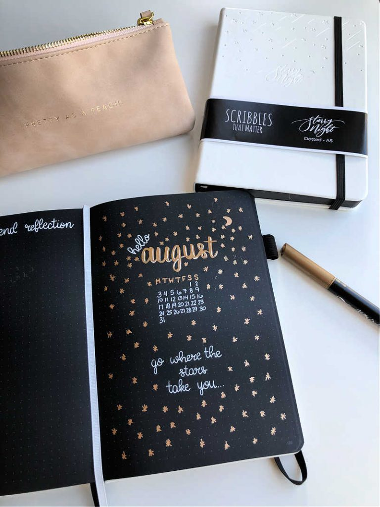 August Bullet Journal cover image for my 2020 Bullet Journal features a gold and white colour combination with starts, a motivating quote, and a mini calendar.