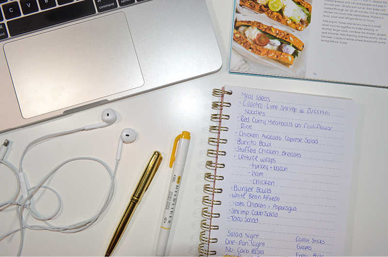 Brainstorm different meal ideas that you can include in your Bullet Journal meal plan!